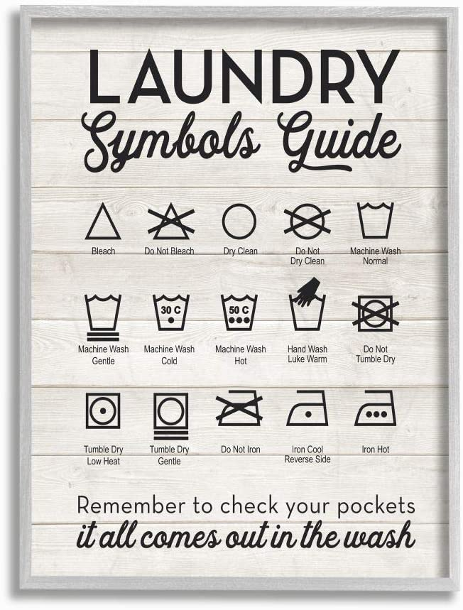 Stupell Industries Laundry Symbols Guide Typography Grey Framed Wall Art, 11 x 14, Design by Artist Lettered and Lined
