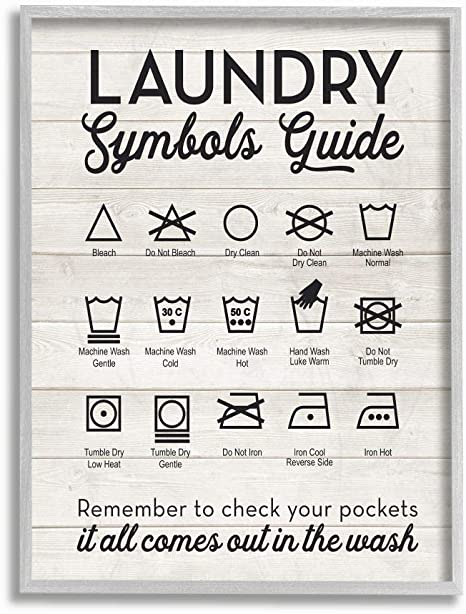 Amazon Com Stupell Industries Laundry Symbols Guide Typography Grey Framed Wall Art 11 X 14 Design By Artist Lettered And Lined Home Kitchen