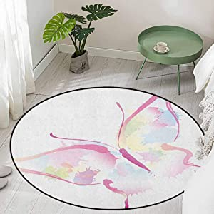 Round Dining Table Rugs Spring Nature Inspired Watercolor Artwork Figure Abstract Wings Color Splashes Diameter 66 inch Carpet Flooring