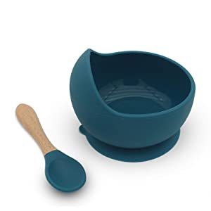 Baby Spoons and Bowls, Suction Bowls for Toddlers - Spill Proof Bowls for Toddlers, First Stage Baby Self Feeding Set(Ocean Blue)