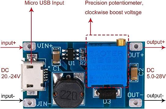 3x dc-dc 5v//9v//12v//28v boost converter adjustable step up power supply module/_JO