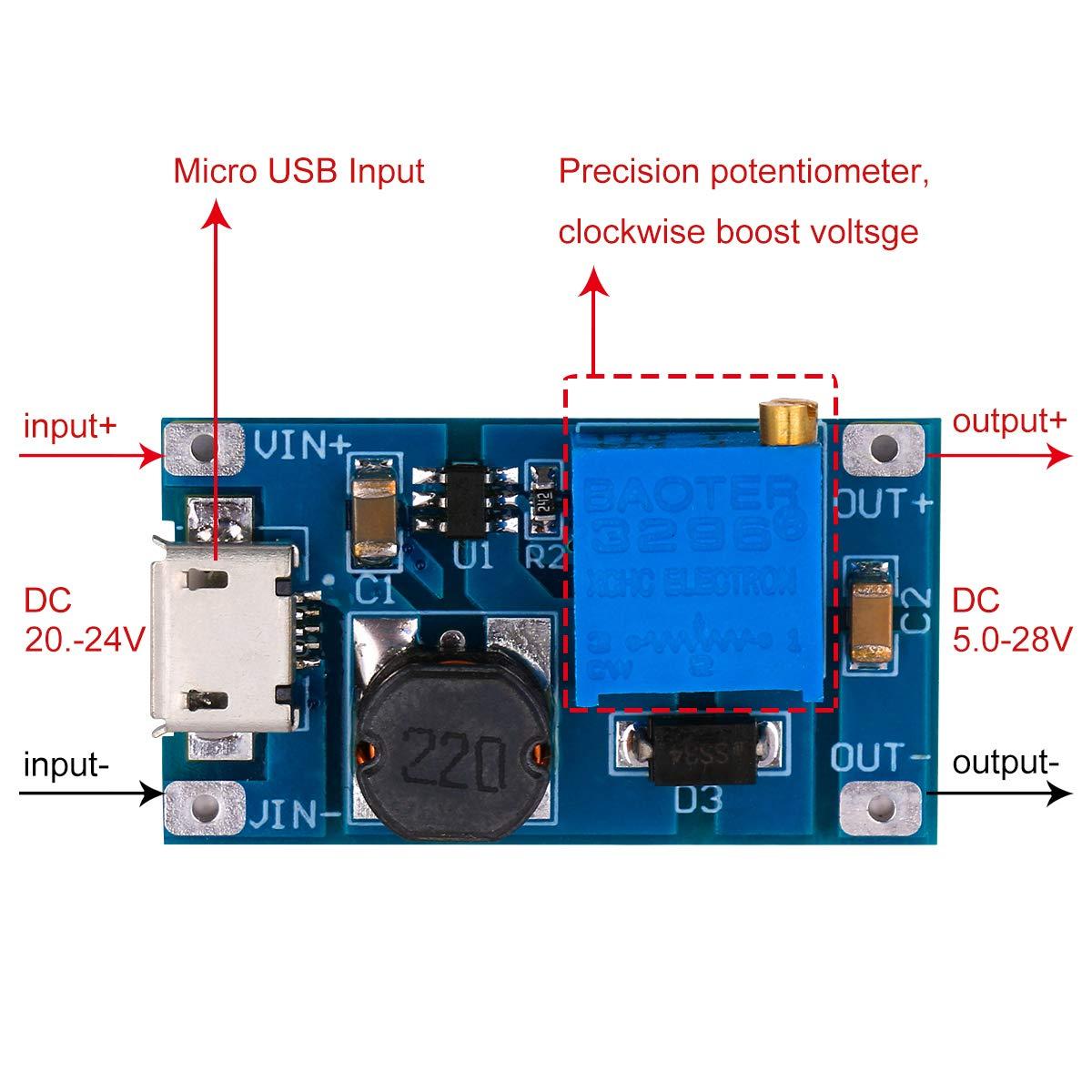 Dc Boost Converter Yeeco 1a Step Up 1 18v To 12v Voltage Regulator Circuit Board 2 24v 5v 9v 5 28v 20v Booster Module Adjustable