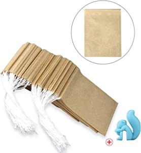 300Pcs Drawstring Tea Filter Bags with 1 Cup Clip, Safe & Natural Material, Disposable Empty Tea Infuser Bag for coffee and Loose Leaf Tea, 1-cup capacity (2.75×3.5 inch, primary color)