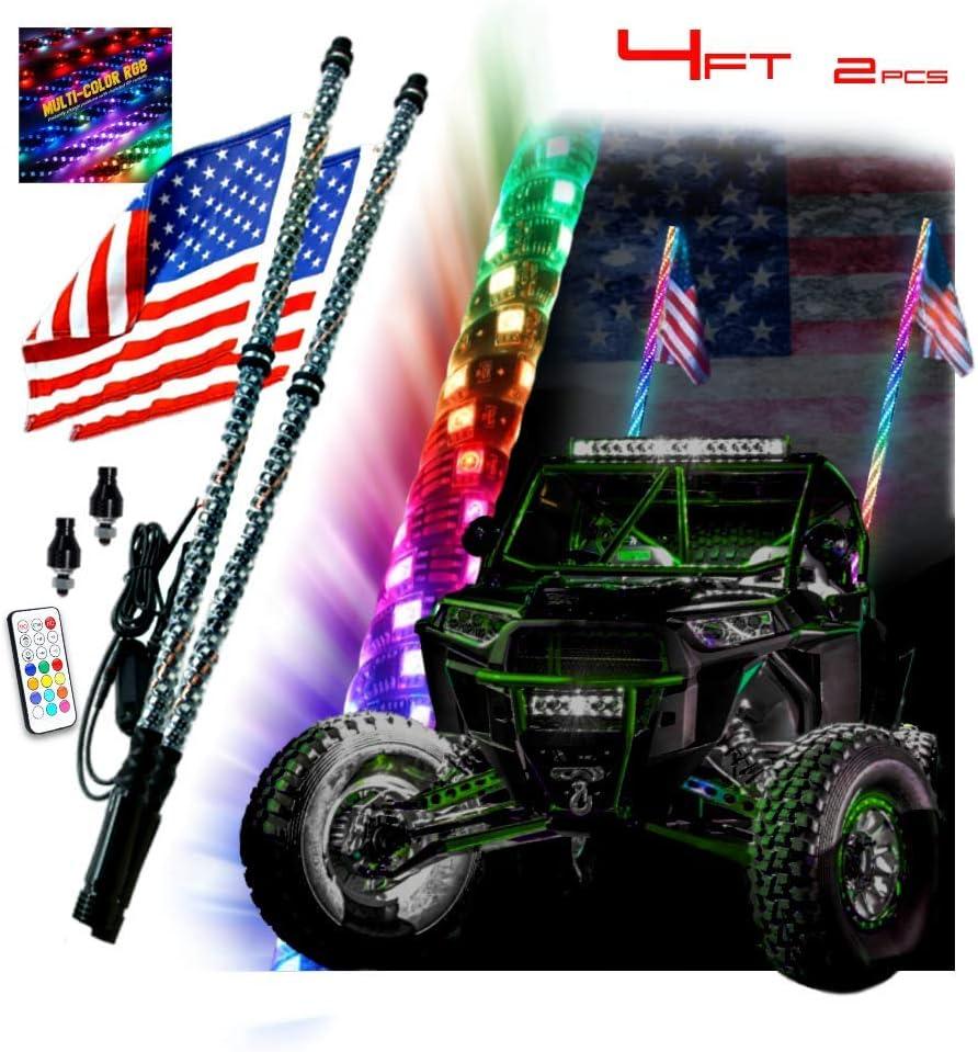 Pair of 4ft Whip Light Dream Color Chasing ATV Antenna Bluetooth UTV RZR Polaris
