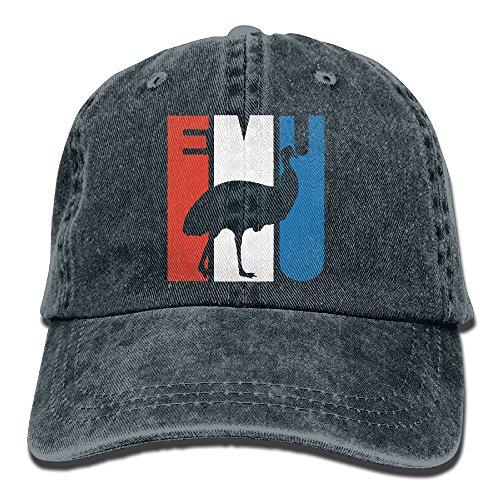 Retro Emu Silhouette Unisex Baseball Cap Cotton Denim Adjustable Hunting Cap for Men Or - Hat Emu