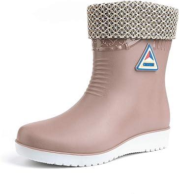 Botas de Agua Mujer Goma Impermeables Botas de Lluvia Atajo Invierno Calentar Zapatos de Trabajo Jardin Slip on Plataforma 2.9cm Beige Negro Azul Rojo EU36-EU41: Amazon.es: Zapatos y complementos