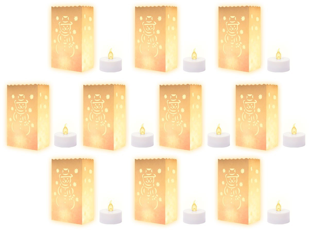 10 White Candle Luminary Bags and 10 Flickering LED Candles with Flowers Romantic for Wedding Anniversary Birthday Alsino