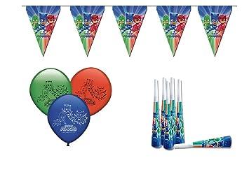 ALMACENESADAN 0471, Pack Decoración Fiesta y cumpleaños PJ Masks, 16 Globos, 12 trompetas