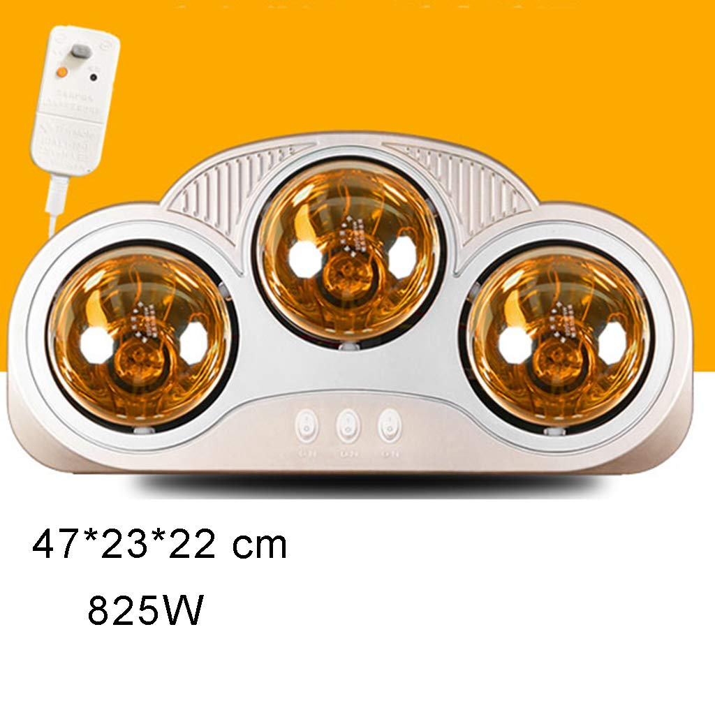 overheat Protection 825W Waterproof Wall-Mounted Bathroom heater with Three IC Infrared Bulbs no Fan