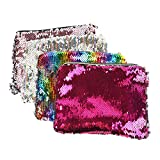 MediaLJia 4 Pieces Cosmetic Bag Magic Glitter Pencil Case Reversible Sequin Makeup Pouch for Girls Women