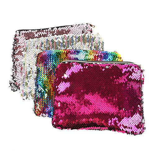 (MediaLJia 4 Pieces Cosmetic Bag Magic Glitter Pencil Case Reversible Sequin Makeup Pouch for Girls Women)
