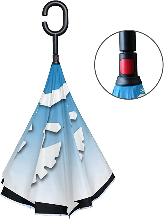 Double Layer Inverted Inverted Umbrella Is Light And Sturdy Winter Snowflakes Border Cool Reverse Umbrella And Windproof Umbrella Edge Night Reflecti