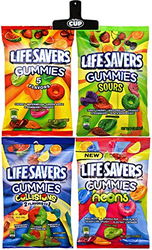 LifeSavers Gummies - 7 Ounce Peg Bag Variety Pack of 4 - With Exclusive By The Cup Bag -