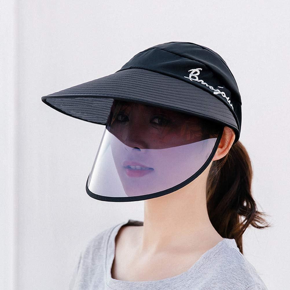Maufy Sonnenhut mit breiter Kante Schutzkappe mit abnehmbarem Gesichtsschutz Sommer-Au/ßenkappe UV-Schutz im Freien Sonnenschutzkappe Wasserdichter Regenhut mit breiter Krempe
