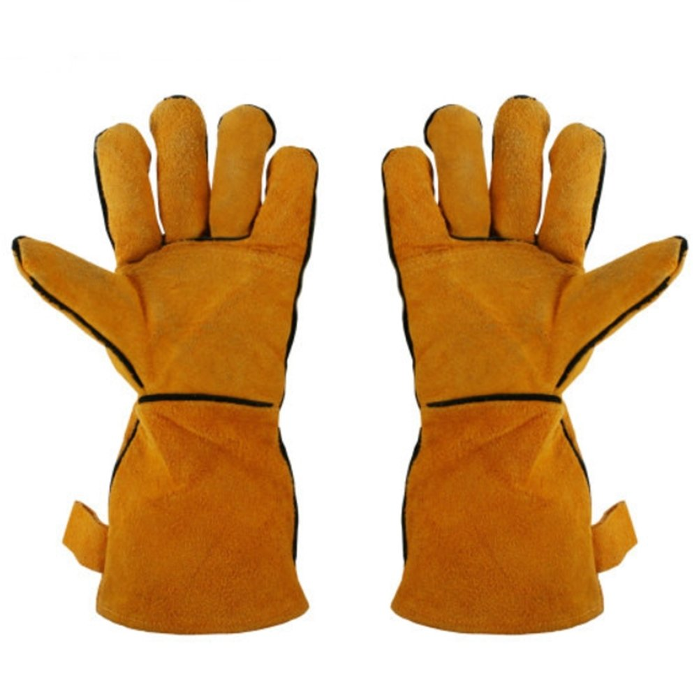 N-rit BBQ Cooking Heat Resistant Gloves For Cooking, Grilling, Baking, 35cm x 14cm, Brown