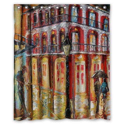 Custom Artistic Designer New Orleans French Quarter Shower Curtain Stylish Waterproof Polyester Fabric Bathroom Deco 60