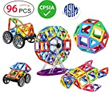 magnet building kits - DreambuilderToy 96 PCS Magnetic Tiles Set, STEM Building Block Preschool Educational Construction Kit,3D Magnetic Toys (96 Pieces)