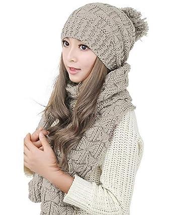CRAVOG Bonnet écharpe kit , Beanie Crochet Chapeaux en tricot tricoté Béret  chaud hiver Fille Femme