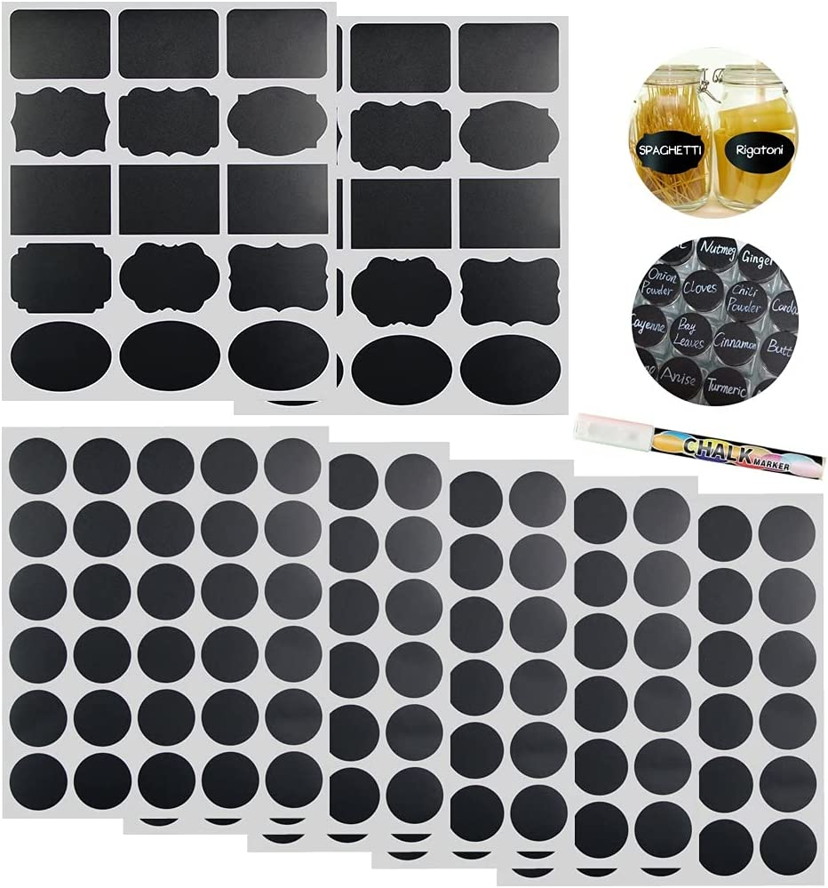 Round Spice Jar Labels Stickers Blank, 180 Pcs Chalkboard Labels for Storage Bins and Food Containers, Waterproof Mason Jar Labels, Chalkboard Marker, Removable Chalk Labels for Bottles Pantry Kitchen