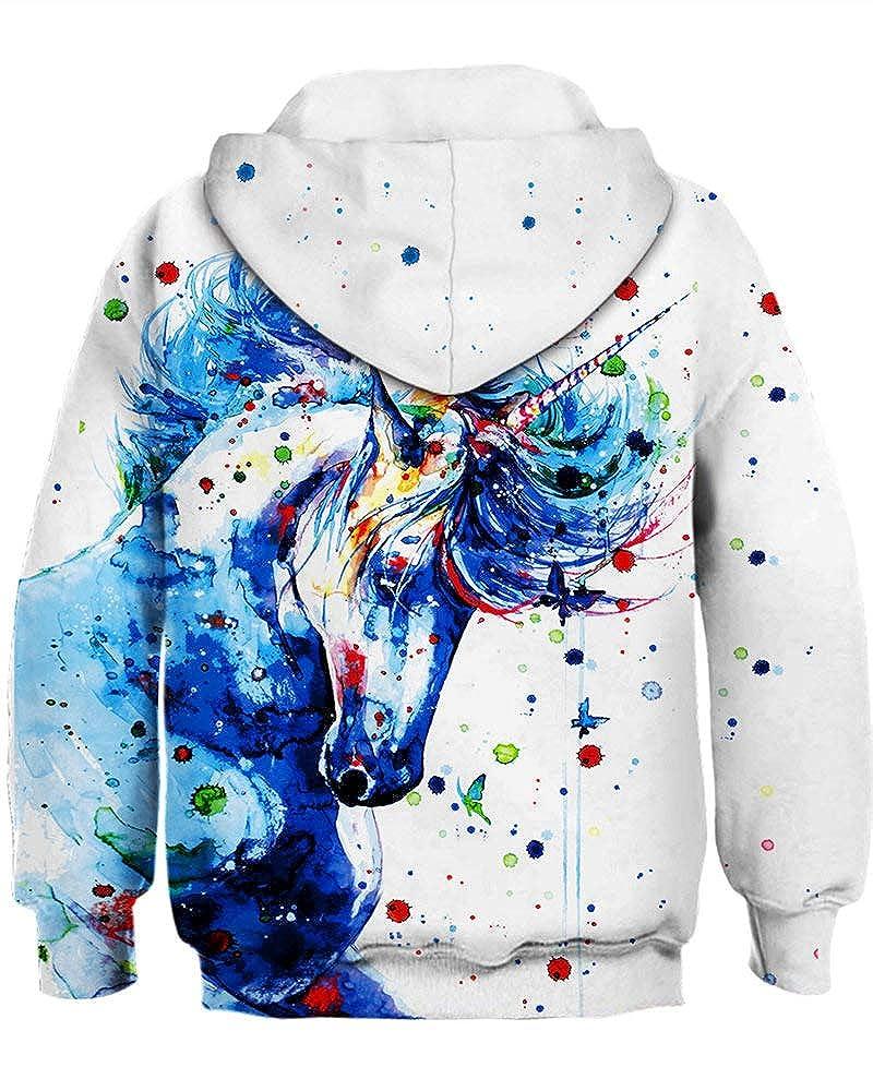 AMOMA Boys Girls Kids Sweatshirt 3D Printed Hoodies Galaxy Milkyway Black Hole Anime Hooded Pullover Age 4-13 Years