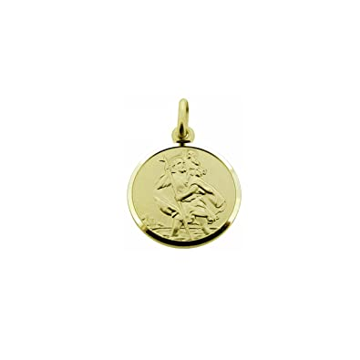 Solid 9ct Yellow Gold 12mm 3D Round St Christopher Medal Pendant In Gift Box gnaYD8OsVi