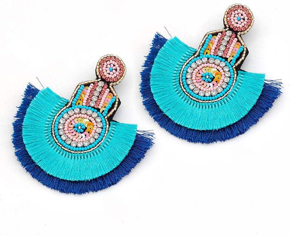 ZIXIYAWEI Pendientes para Mujer Pendientes Llamativos Borla Boho Étnico Caliente Colorido Cuelga Los Pendientes De Gota Granos Joyería De Moda De La Boda