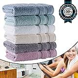 ELIYA Hand Towels for Bathroom 15.75''x31'', Luxury Hotel Quality for Spa/Salon/Bath, Organic Cotton Soft Thick and Fluffy 700GSM (6 Color Set Bulk)