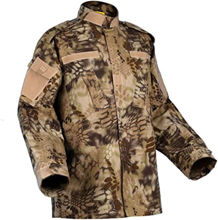 Traje de camuflaje con estampado de pitón amarillo, camisa y pantalones de la chaqueta de batalla Traje de entrenamiento uniforme de camuflaje Juego de guerra Ejército Militar Paintball Arma de aire C: