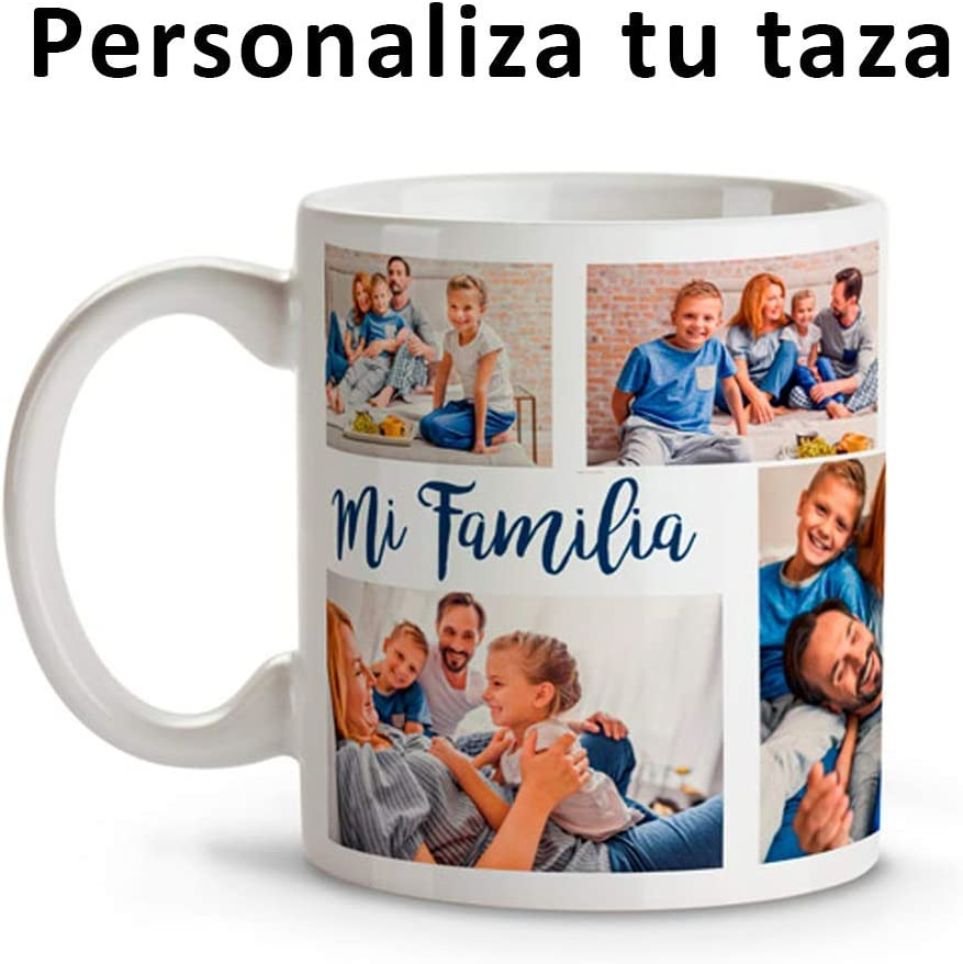 Mookase Tazas Personalizada con tu Foto | Regalo Personalizado | Diséñala con tu Foto y Texto | Color: Blanco | Material: Cerámico
