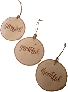 Large Christmas Tree Ornaments - Thankful, Grateful & Blessed in A Set of 3- 4 Inch Round Wooden Farmhouse Gift Decor Country Modern Christmas Tree Ornament Decorations HGTV Fixer Upper Decoration