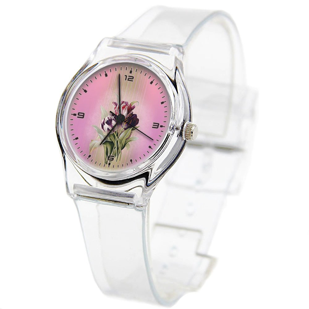 Personality Transparent Wristwatch Transparent Strap Summer Decoration Woman Child teacher Teen Young Girls Children Kids Watches Colorful Flower-041. Tulips, Pink, Flowers