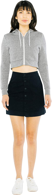 American Apparel Womens Peppered Fleece Cropped Long Sleeve Hoodie Hooded Sweatshirt