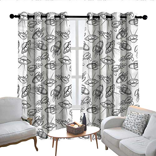 (Lewis Coleridge Blackout Curtains for Bedroom Outer Space,Spaceship Flying Saucer,Darkening Grommet Window Curtain-Set of 2 84