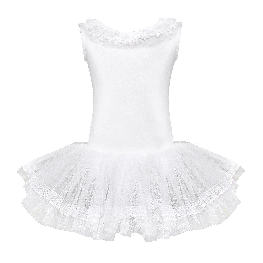 Agoky Girls Sequined Sleeveless Ballet Dance Leotard Tutu Skirted Dress Costumes White Dancer 5-6 by Agoky