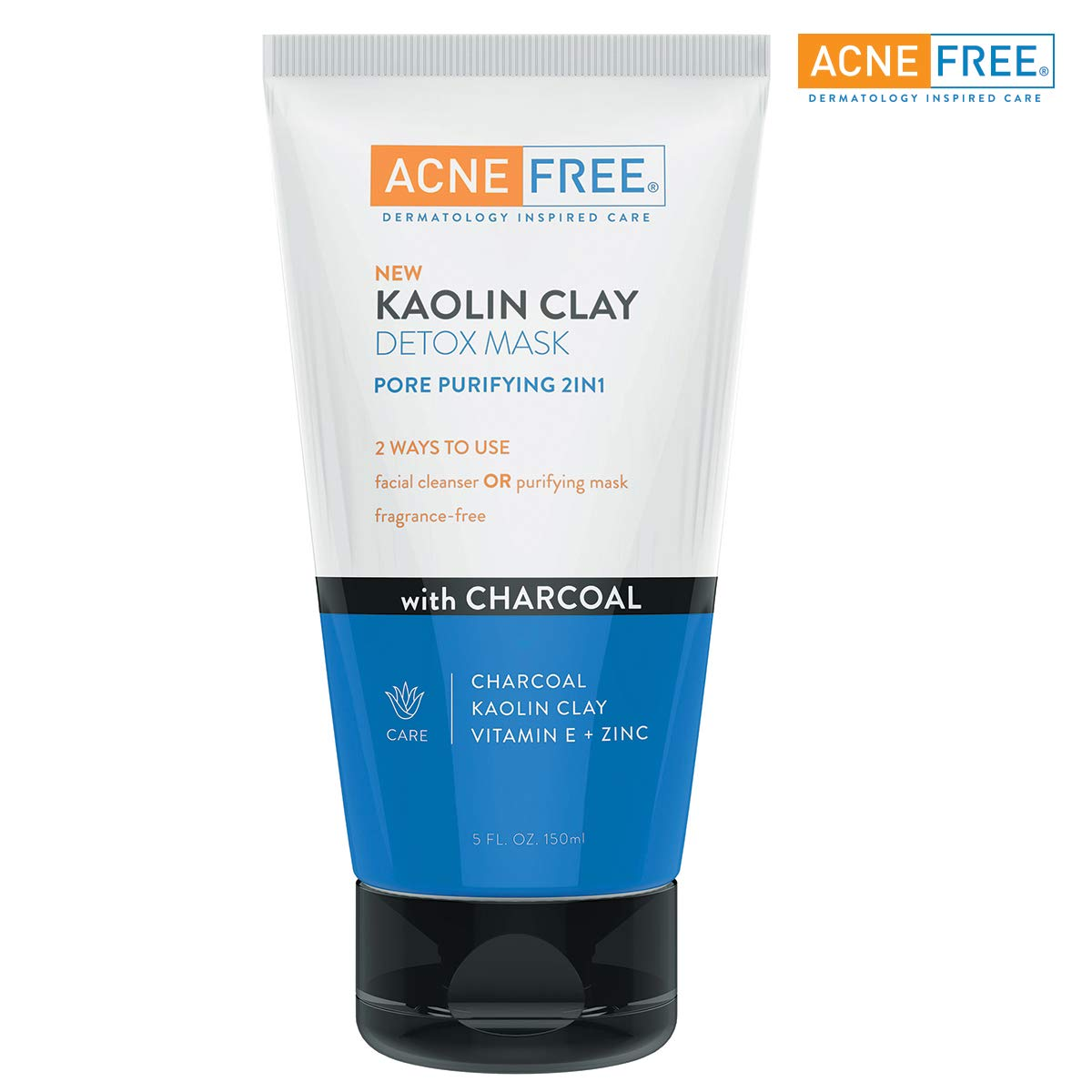 AcneFree Kaolin Clay Detox Mask 5oz with Charcoal, Kaolin Clay, Vitamin E + Zinc, Cleanser or Mask for Oily Skin, To Deeply Clean Pores and Refine Skin