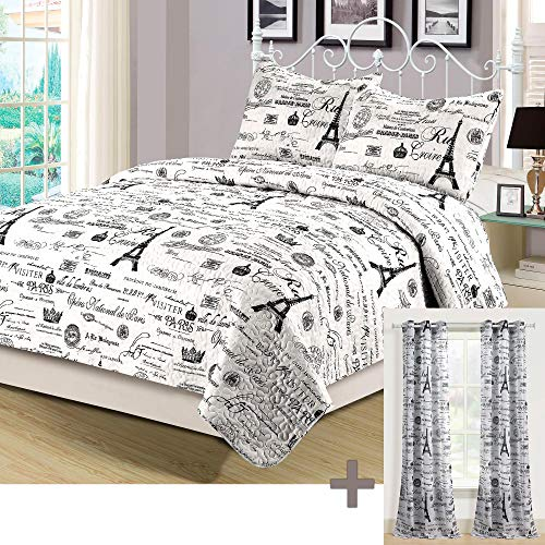 HowPlumb Queen Quilt Set with Matching Curtains 5 Piece Paris Eiffel Tower Black and White