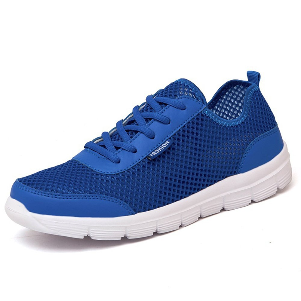 Fashion Summer Breathable Mesh Men Women Cycling Sports Running Quick Dry Casual Couple Shoes size 46 (Blue)