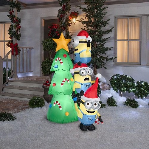 holiday inflatables christmas yard decorationschristmas 6 minions decorating tree scene by gemmy