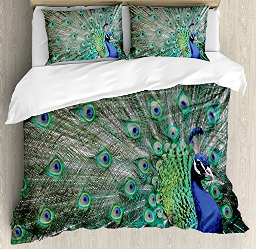 Ambesonne Peacock Duvet Cover Set King Size, Peacock Displaying Elongated Majestic Feathers Open Wings Picture, Decorative 3 Piece Bedding Set with 2 Pillow Shams, Navy Blue Green Pale Brown (Displaying Peacock Feathers)