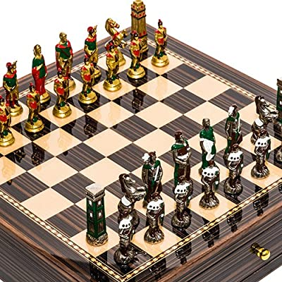 Lorenzini Hand Painted Chessmen from Italy & Seventh Avenue Maple & Walnut Chess Board/Cabinet with Two Drawers