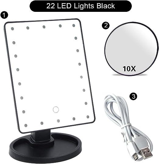 Espejo de maquillaje de cambiador con 22 bolsillos de luz flexible aumento de visualización táctil 1X 2X 3X 10X espejos ajustables para regalo cosmé