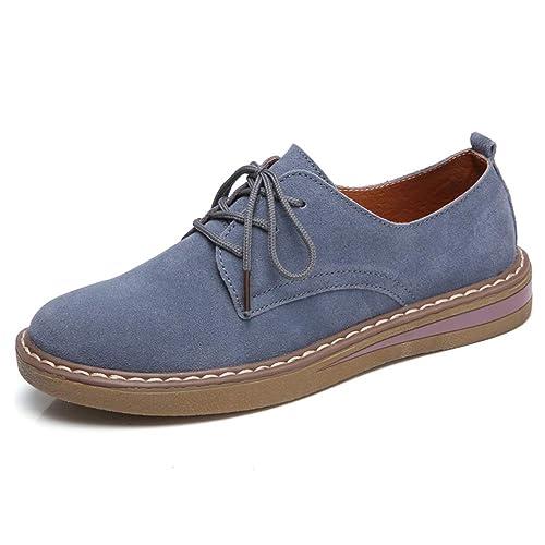 a0c0b0c9d5 Zapatos Planos De Mujer Zapatos Oxford con Cordones Zapatillas De Ante De  Piel De Vacuno De Cuero Suave Punta Redonda Mocasines De Barco con Punta  Cerrada: ...
