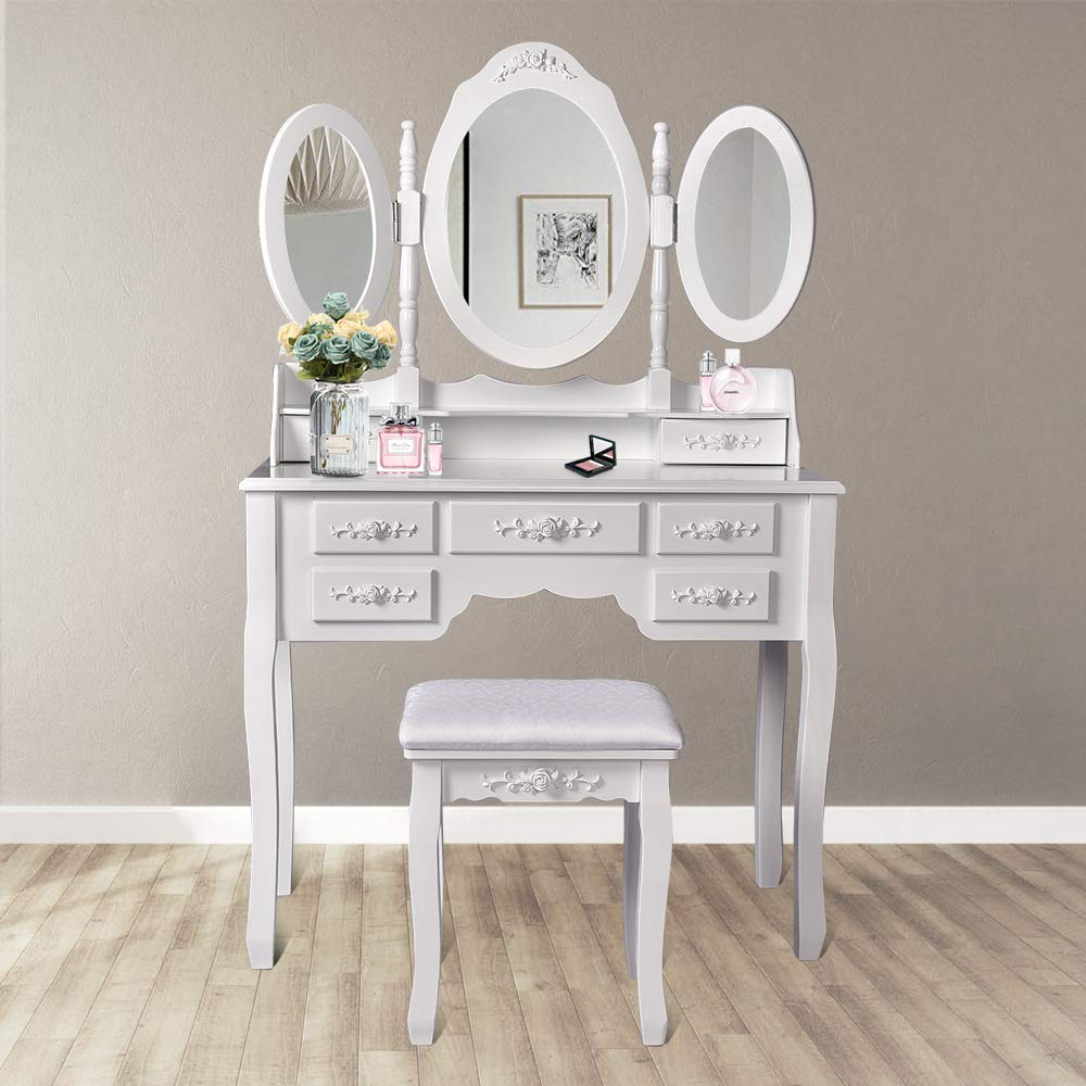 Makeup Vanity Table Set, Trifold Mirrors Dressing Table with Cushioned Stool &7 Drawers Storage Organizer for Bedroom Furniture/Gift (Tri-Folding Mirror, White)