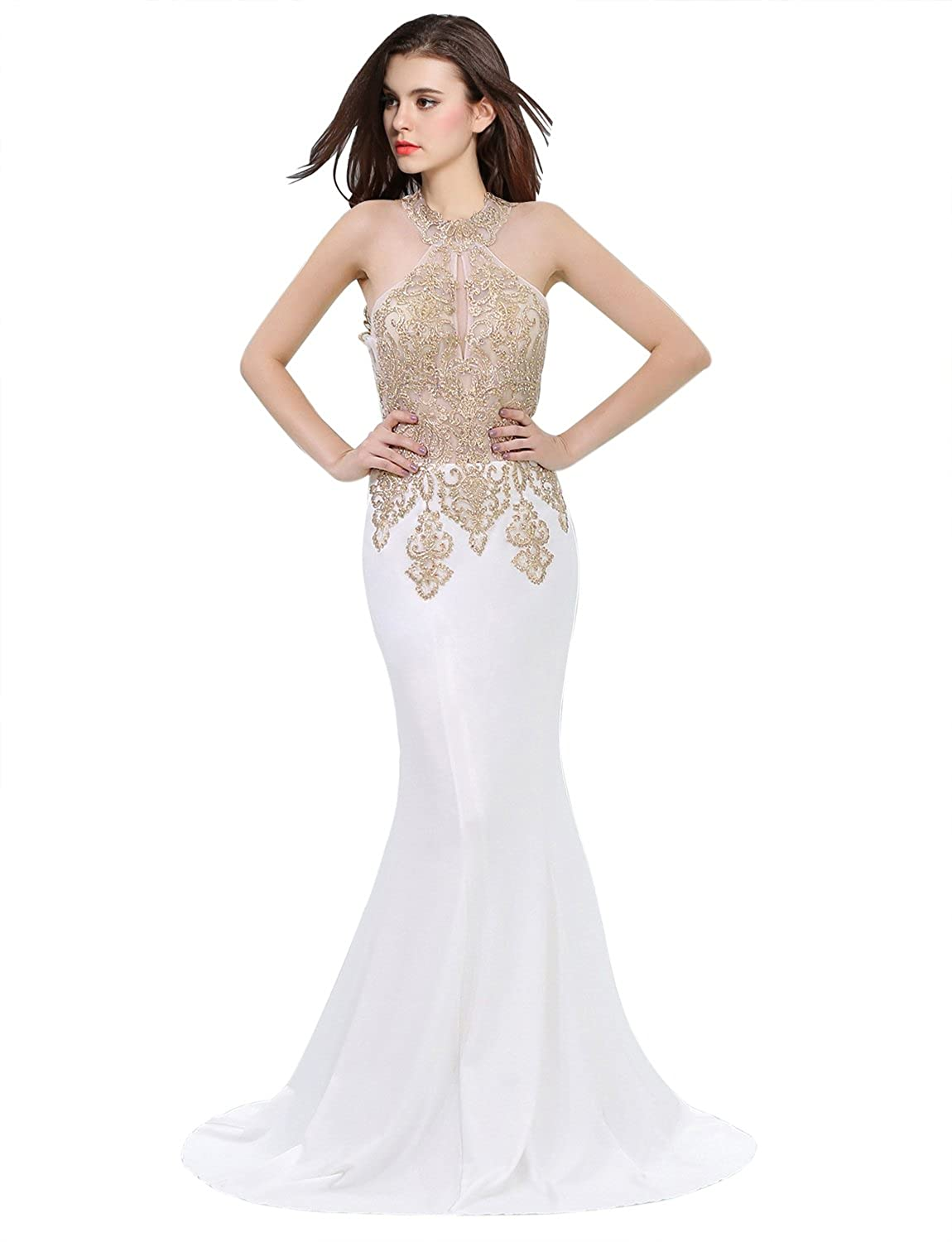 a54e680385a Amazon.com  Erosebridal Womens Prom Dresses Long Lace High Neck Evening Gown  Sexy Mermaid  Clothing