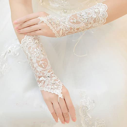1db19a26c4e Image Unavailable. Image not available for. Color  Xinnyuan Popular Bride  Wedding Dress Lace Fingerless Gloves Beads Rhinestone Short Gloves