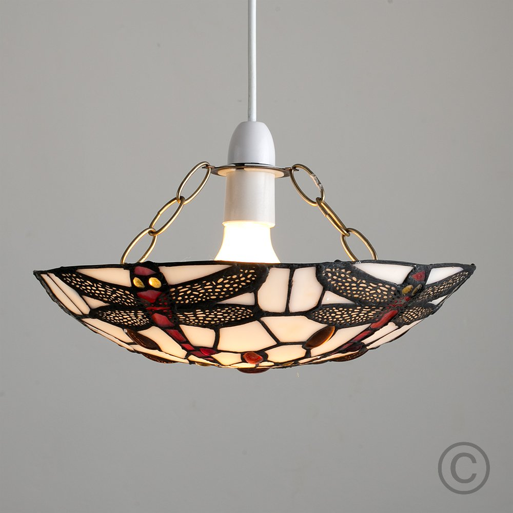 Tiffany style lamp shade amazon tiffany style titania antique red and white glass and jewelled uplighter dragonfly design ceiling lamp pendant aloadofball Images