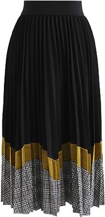 Chicwish Falda Plisada de Color Negro y Mostaza para Fiesta de ...
