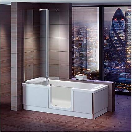 Bañera con puerta, senior bañera 170 x 75 x 57,5 cm con cabina de ducha, delantal y desagüe de bañera/Sifon, derecho): Amazon.es: Bricolaje y herramientas
