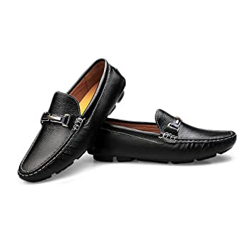 2018 Mocasines Zapatos para Hombre Zapatos de conducción de Color sólido Penny Boat Shoes Suela de Goma Casual Mocasines Mocasines (Color : Negro, ...