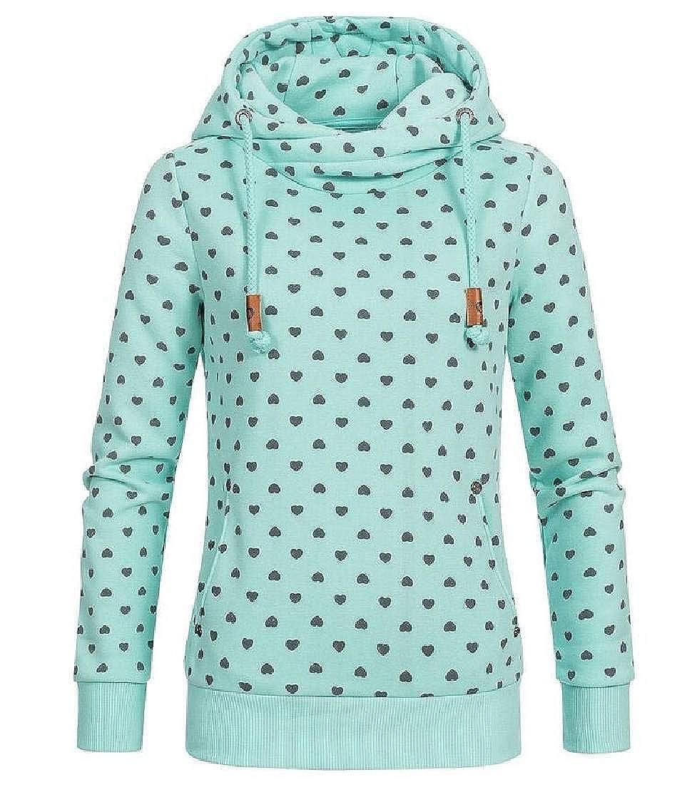 Domple Womens Pullover Drawstring Long Sleeve Hoodies Heart Printed Tops Fleece Sweatshirt
